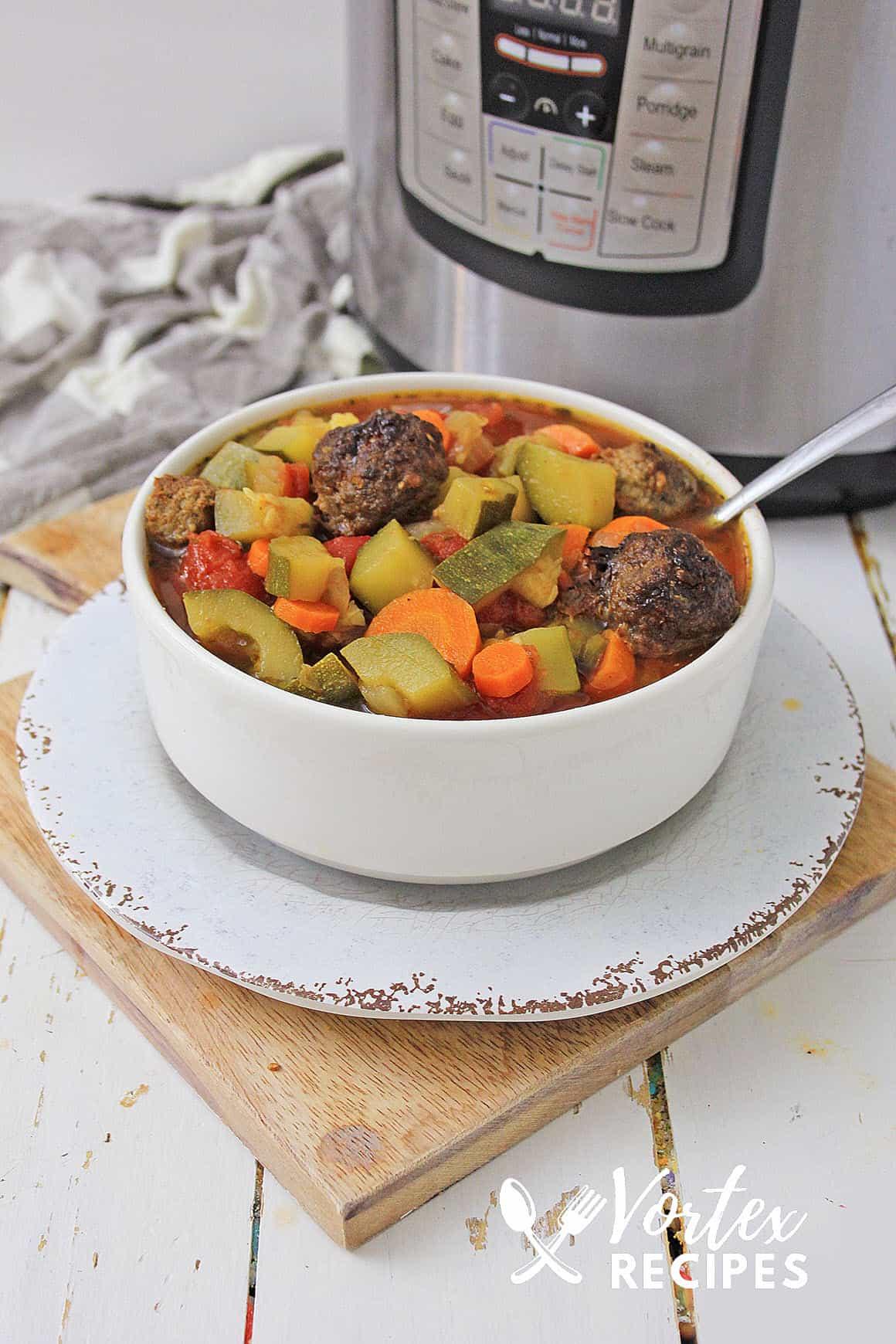 Instant pot italian vegetable meatball soup