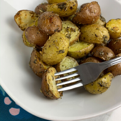 roasted potatoes on a plate