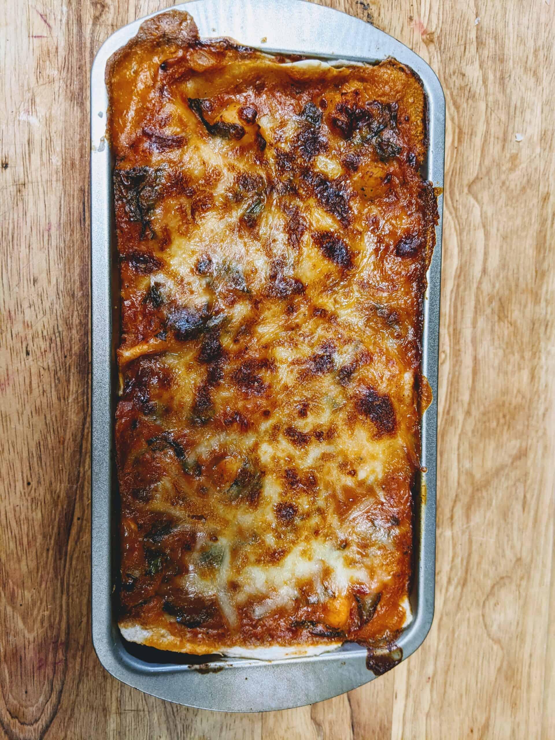 Baked Seafood lasagna in Pan