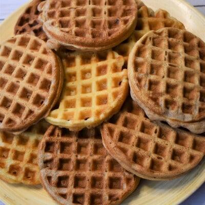 stack of mini eggo waffles on a plate