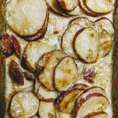scalloped potatoes in baking dish