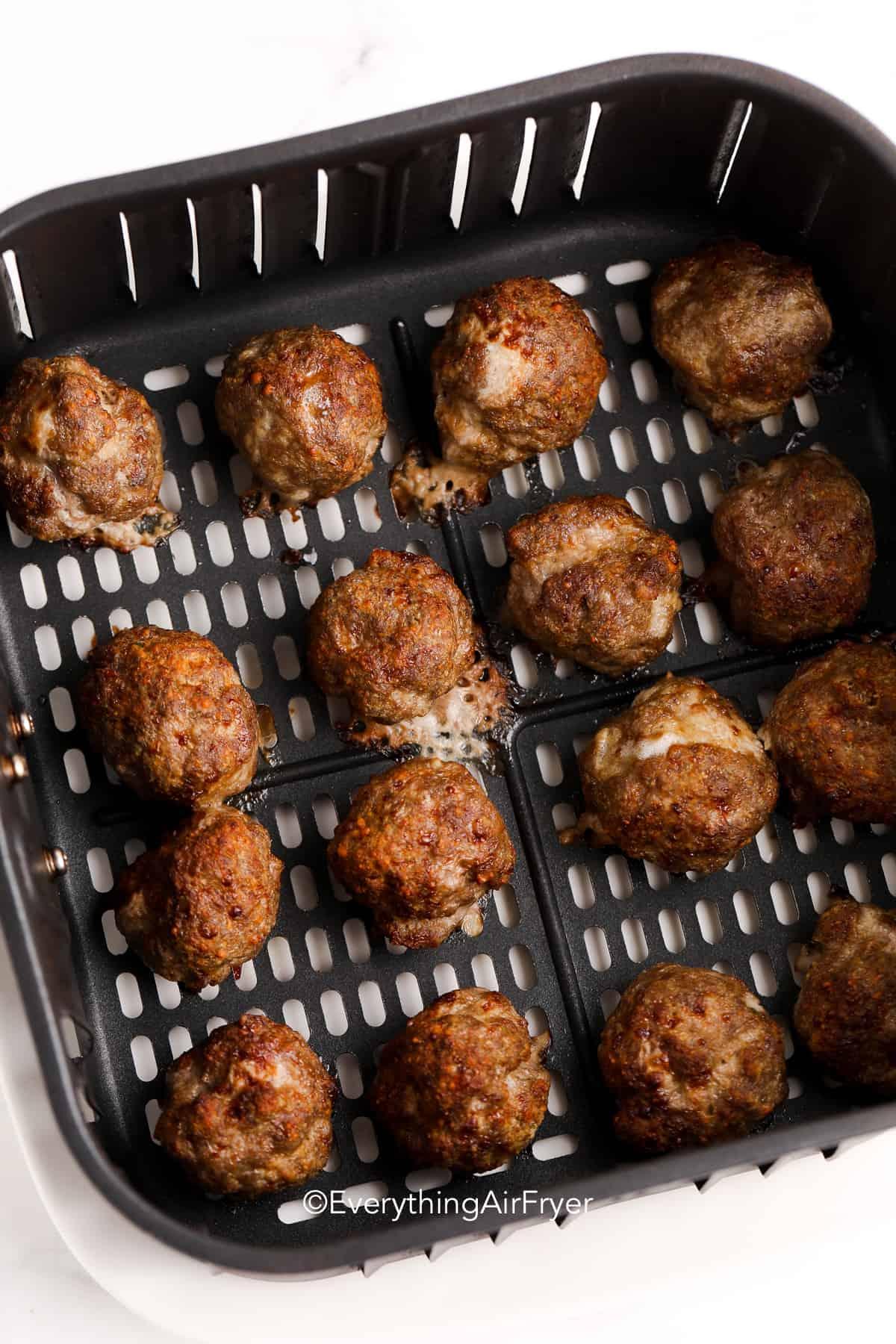 meatballs in an air fryer basket
